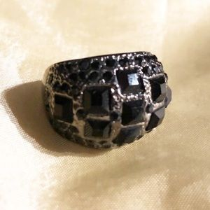 (7) Gunmetal and Black Stones Ring !!!